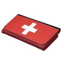 Large Faux Leather Wallet Swiss Flag