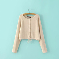 Cardigan Women Loose Long Sleeve Round Necked Strappy Solid Sweater Cardigan Coat Jacket Outerwear _ 9800