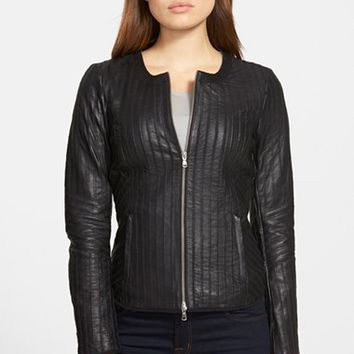 Women's LaMarque Front Zip Leather & Mesh Jacket