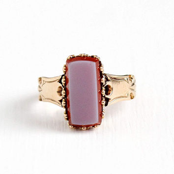 Antique Victorian 14k Rosy Yellow Gold Sardonyx Ring - Vintage 1890s Size 4 3/4 Banded Light Purple Orange Unique Gem Statement Fine Jewelry