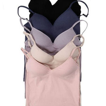 Cami Built In Bra - 5 Colors - Ajustable Shoulder Strap