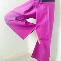 Pink and Black Stripe - 2 TONE Thai Fisherman Pants Cotton