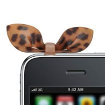"""No Crack"" Acrylic Spotty Cat Ear iPhone Jack Anti Dust Plug Cover Stopper (Brown and Black)"