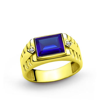 10 K Solid Yellow Gold Men's Ring with 3.40 ct Sapphire and 0.02 ct Diamonds