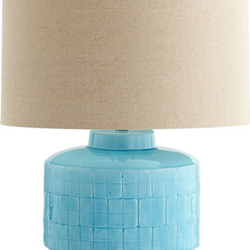 0-024782>Aqua Glow 1-Light Table Lamp Blue Glaze