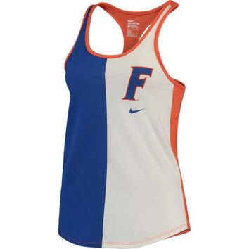 c781749df40bb9 DCCKG8Q NCAA Florida Gators Nike Women s Cream Tri-Divide Tri-Blend Racerback  Tank Top