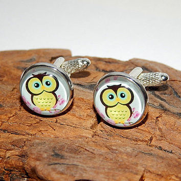 Owl cufflinks, owl jewelry, Owl art print, Owl accessories, wedding cufflinks,  eagle owl Cuff links, bird cuff links, animal cufflinks