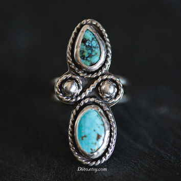 Size 7.5 Sterling Silver Turquoise Ring, Southwestern Ring, Native American Jewelry, Multi Stone Ring, Bohemian, Oxidized, Ready To Ship!