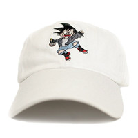 Misunderstood Goku Dad Hat in White - Low Stock