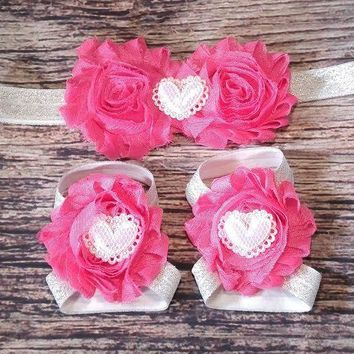 Hot Pink Shabby and White Sparkle Hearts on Silver Glitter Elastic Band Baby Girl Headband and Barefoot Sandal Set!