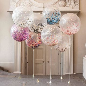 "5Pcs/lot 12"" Confetti Balloons Clear Ballons Party Wedding Party Decoration Kid Children Birthday Party Supplies Air Ballon Toys"