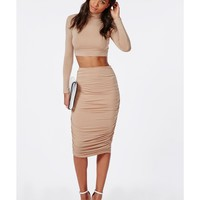 Missguided - Ruched Seam Midi Skirt Nude
