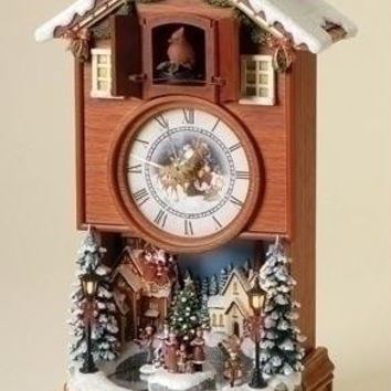 Animated Lighted Cuckoo Clock - A Cardinal Comes Out Of The Small Trap Door And Chirps, While The Ice Skaters Skate Around The Rink Below
