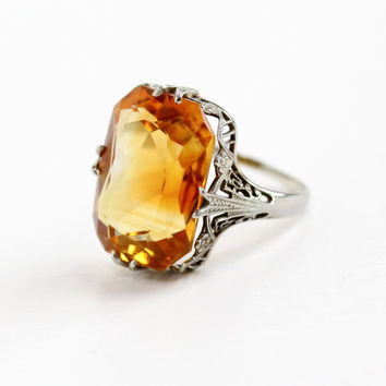 Vintage 18k White Gold Filigree Citrine Ring - Antique Size 6 1/2 Art Deco 1920s Orange Yellow Gemstone Fine Statement Flower Motif Jewelry