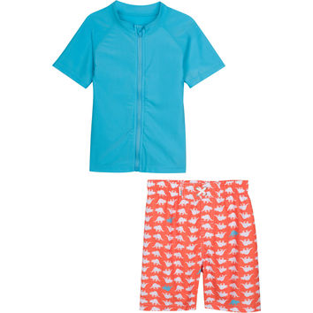"Little Boy UV Sun Protective Rash Guard Swimsuit Set - ""Dino-Mite"" Orange"