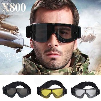 X800 Military Goggles Army Tactical Glasses Paintball Oculos Airsoft Hunting Paintball Windproof Glasses WarGame Glasses 3 Lens