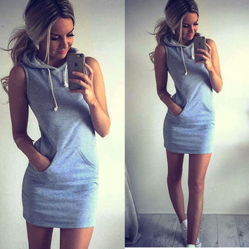Gray Sleeveless Hoodie Dress