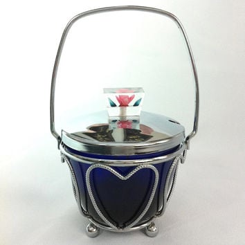 Vintage Sugar Bowl Cobalt Blue Bowl Blue Glass Small Bowl Trinket Dish Sugar Cube Bowl Candy Bowl Sauce Dish Chrome Hearts Heart Basket Bowl