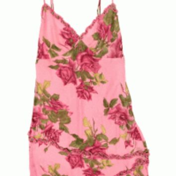 Killer vintage Betsey Johnson big rose print asymmetrical hemline dress. INCREDIBLE, incredible find. Semi-sheer silk with roses throughout. Sleeveless, sweetheart neckline with adjustable thin straps, mini ruffle around the neckline, mid-skirt and bottom