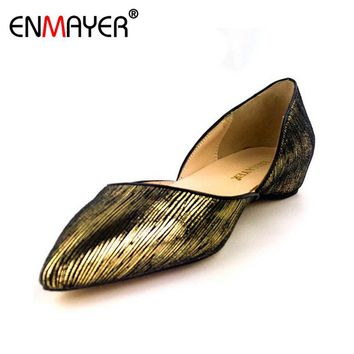 ENMAYER Summer Shoes Women Flock Loafers Slip-on Black Gold Leopard Pointed Toe Shoes Flats Comfortable All-match Office Lady