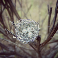"Dainty Hand Woven Silver Wire Bird's Nest With Seed Pearl ""Eggs"" Woodland Ring - Size 6.5"