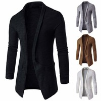 Luxury Men's Knitted Cardigan Long Sleeve Casual Slim Fit Sweater Jacket Coat