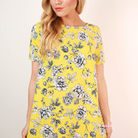 Honeybee Floral Shift Dress in Yellow