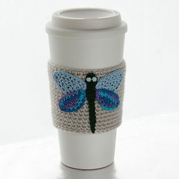 Coffee Cozy, Cup Cozy, Crocheted, Dragonfly applique, Sleeve, Green with blue wings, linen colored sleeve, damselfly