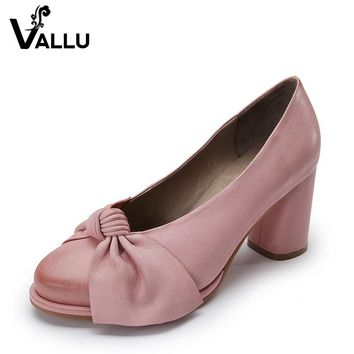 2017 Handmade Women Shoes High Heels Genuine Leather Women Pumps Butterfly Knot Chunky Heels Sheepskin Vintage Style