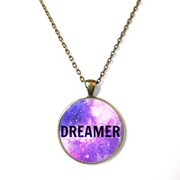 DREAMER Galaxy Necklace - Valentine's Day Motivational and inspirational Pendant with Small Arrow