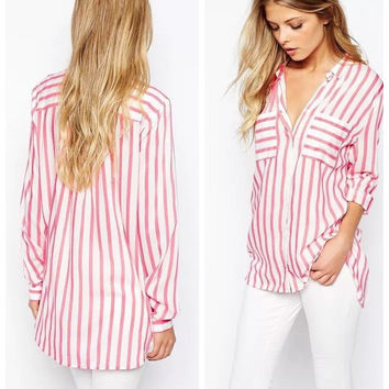 Summer Women's Fashion Vanilla Stripes With Pocket Cotton Shirt Long Sleeve Blouse [6513803207]