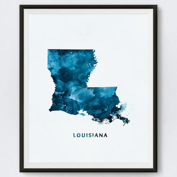Louisiana, Art Print, Watercolor Map, USA, Blue, Minimal, Baton Rouge, Home decor, Poster, Painting, Gift, Map Art, Download, Wall Art