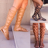 Jemma Gladiator Sandals Women High Boots Shoes Hollow Out [9302409994]