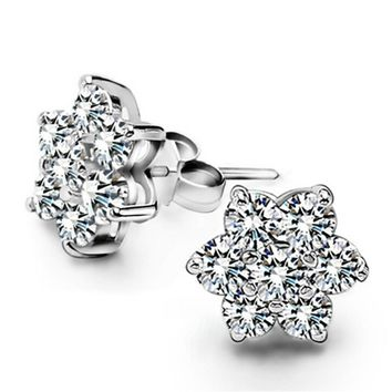Womens 925 Silver Hexagon Stud Earrings With Cut Crystal +Gift Box