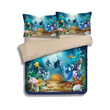 Underwater world ocean kids 3d dolphin bedding set 3pcs twin queen king size winter duvet cover set quilt cover pillowcase