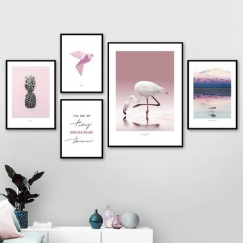Pineapple Flamingo Quotes Mountain Landscape Wall Art Canvas Painting Nordic Posters And Prints Wall Pictures For Living Room