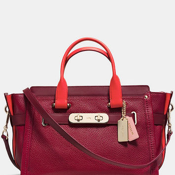 COACH SWAGGER IN COLORBLOCK PEBBLE LEATHER | Dillards
