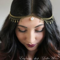 Luna. Rainbow Moonstone head piece in bonze