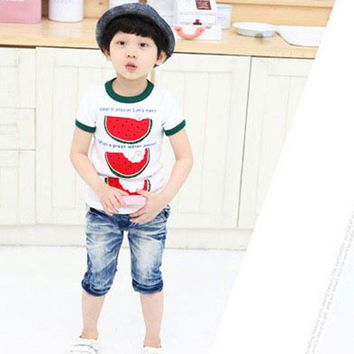 Cute Summer Kid Toddler Tops T Shirt Child Boys Crew Neck Watermelon Tee Shirt 2-6Y