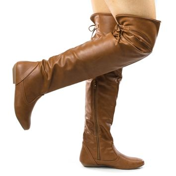 Tammy Tan Leatherette by Forever Link, Foldable Knee High Flat Boots w Rear Lace Tie