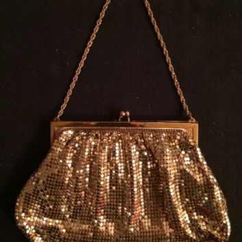 Whiting and Davis Mesh Bag Disco Metallic Golden Chain Purse True Vintage Vtg