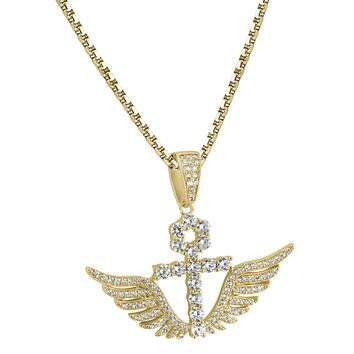 Designer Solitaire Ankh Cross Angel Wings Iced Out 14k Gold Finish Pendant 925 Free Chain