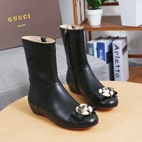 Gucci Trending Women Black Leather Side Zip Ankle Boots Shoes Best Quality