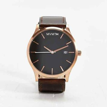 MVMT Rose Gold Leather Watch