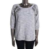 INC Womens Plus Knit Sequined Sweatshirt