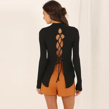 DCCKJ1A Sexy back hollow out with tight knitted turtleneck sweater cultivate one's morality
