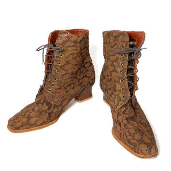 1980s Seychelles Lace Boots - Brown - Edwardian Boots - Granny Boots - Hippie Boho Bohemian - Size 7