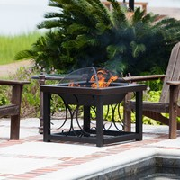 Fire Sense 30 in. Square Convertible Fire Pit Table - Hammertone Bronze | www.hayneedle.com