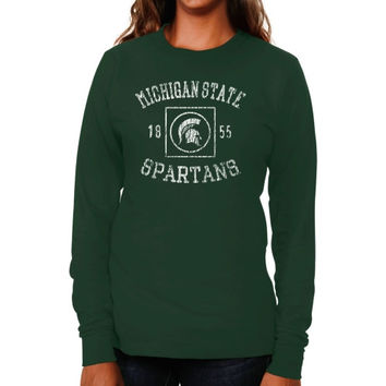 Michigan State Spartans Ladies University Lockup Long Sleeve Slim Fit T-Shirt - Green