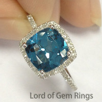 7mm Cushion London Blue topaz Halo Pave Diamonds Engagement Ring in 14K White/Yellow/Rose Gold Engagement Wedding Gift